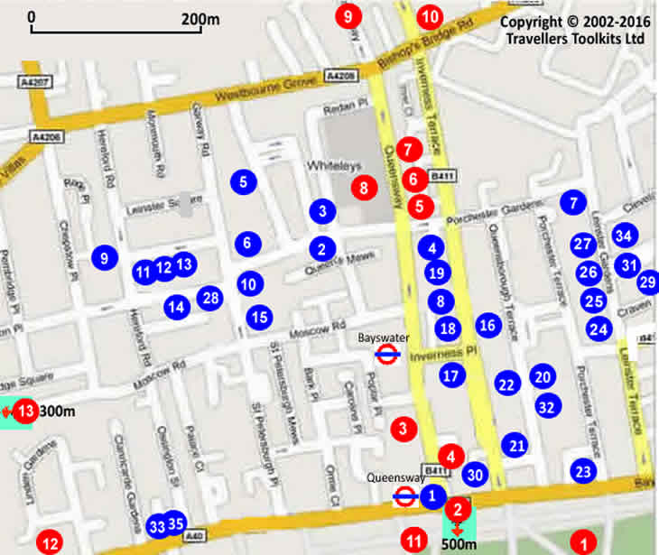 Bayswater London Hotel Street Map   Hotels / B&B's Located
