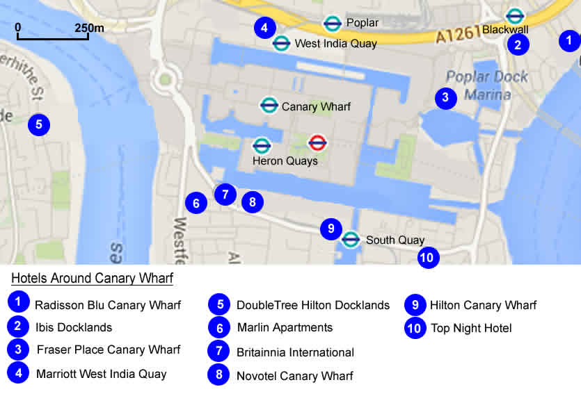 Hotels Near Canary Wharf London Docklands With Hotel Map