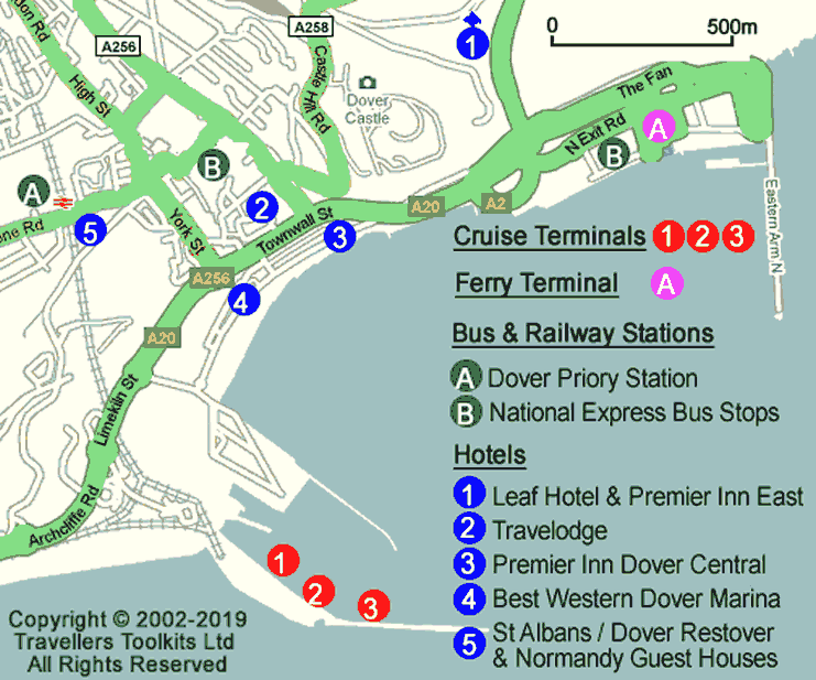 Dover UK Map  Hotels Ferry  Cruise Terminals Bus