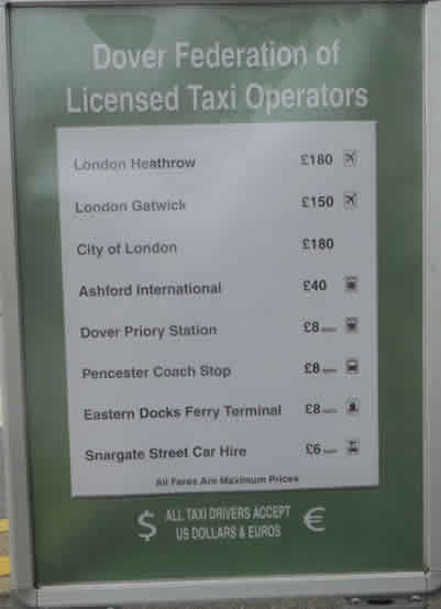 Dover Taxi Fare Board At Cruise Terminal