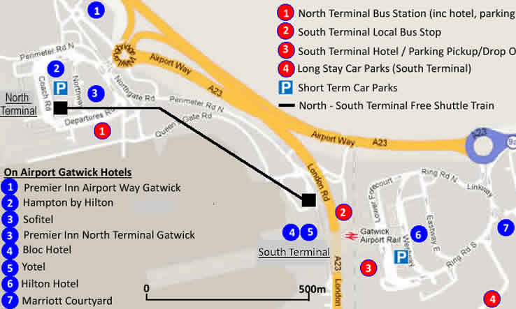 On Airport Gatwick Hotel Map