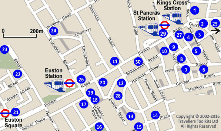 St Pancras Euston Amp Kings Cross Stations London Hotel Street Map