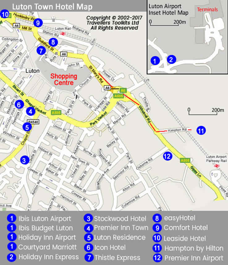 Luton Airport Hotel Map