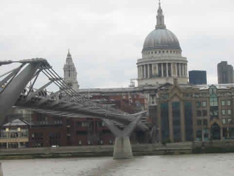 Millennium Bridge London from St  Paul's Cathedral