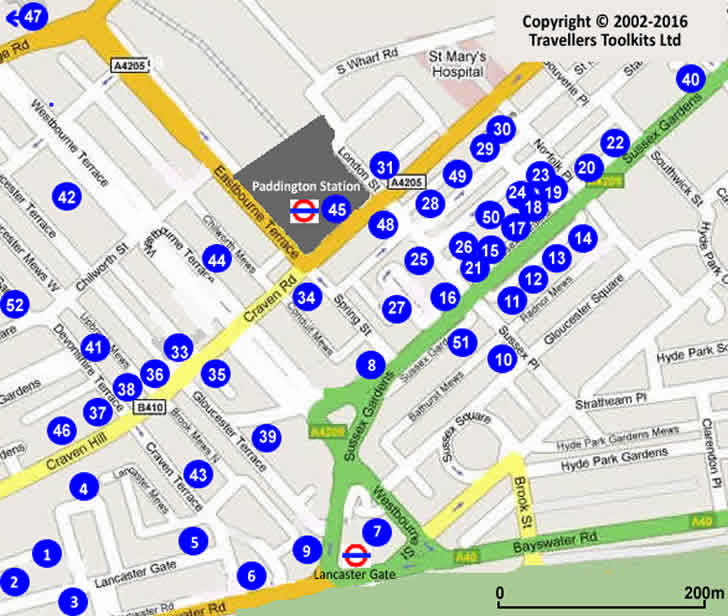 Paddington London Hotel Map