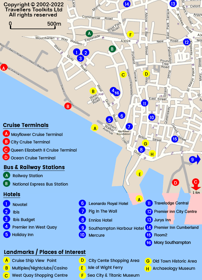 Map of Southampton Hotels & Cruise Terminals