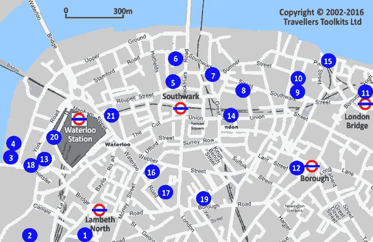 Mapa Con Los Hoteles De County Hall Southwark Amp Waterloo