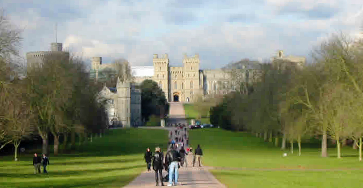 Windsor Castle Viewed From The Long Walk In Windsor Great Park