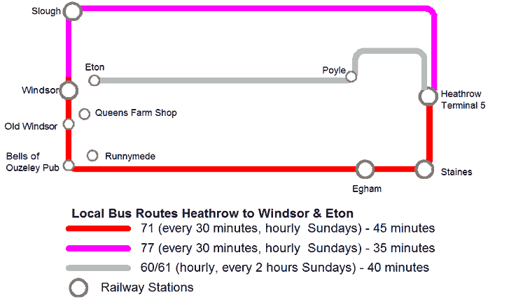 Map of Public Transport Between Windsor and Haethrow Airport