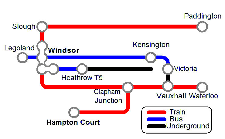Map of Public Transport Between Windsor and London
