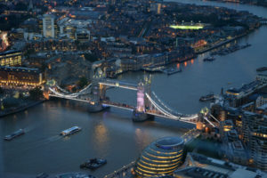 tower bridge at night aerial view of london