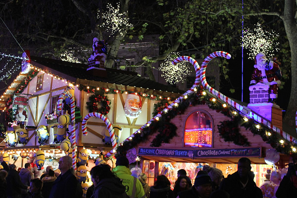 Christmas market in Leicester Square, London