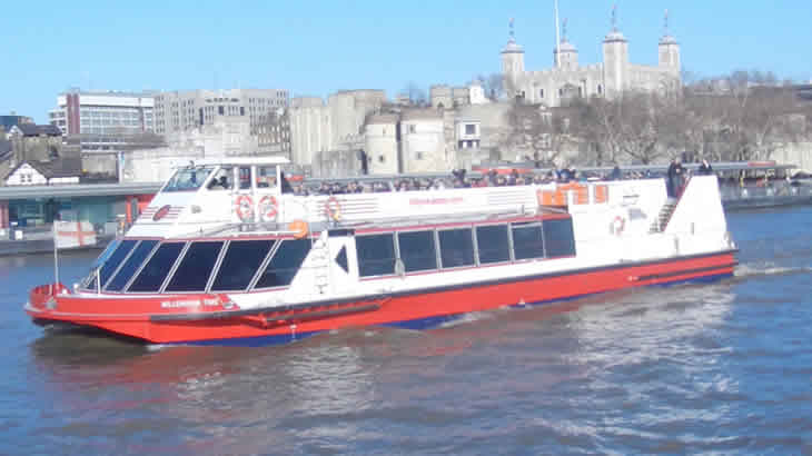 City Cruises River Boat In Front Of The Tower Of London