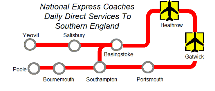 Map of Bus Services Gatwick Airport - Southern England