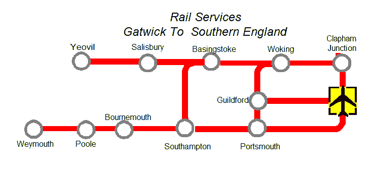 Map of Train Services Gatwick Airport - Southern England